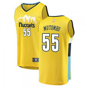 Fanatics Branded Denver Nuggets Swingman Yellow Dikembe Mutombo Fast Break Jersey - Statement Edition - Men's
